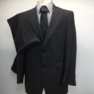 Men's suit black pinstriped 40R 2 piece suit